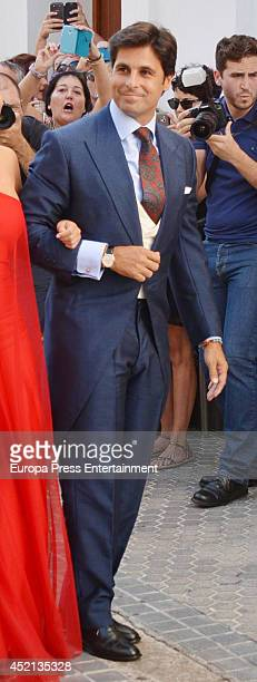 Spanish bullfighter Francisco Rivera attends his wedding on July 12 2014 in Seville Spain