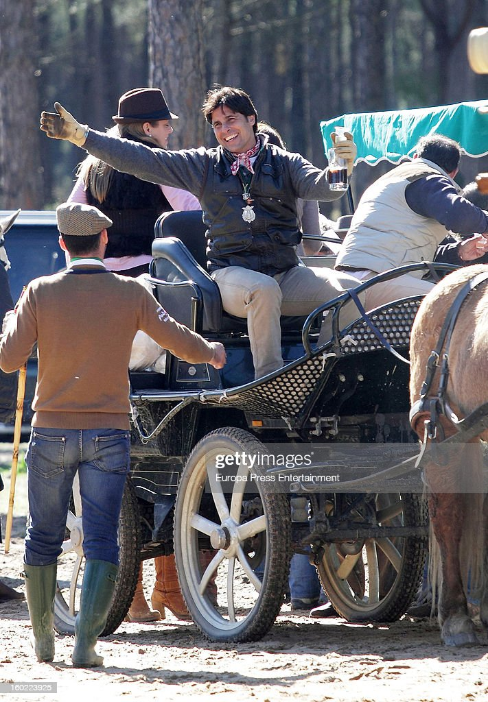 Spanish bullfighter Francisco Rivera (3L) is seen in El Rocio Romeria, a traditional Spanish pilgrimage, on January 27, 2013 in Huelva, Spain.