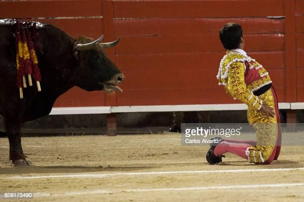 Spanish bullfighter Francisco Rivera performs at the Palma de Mallorca Bullring on August 3 2017 in Palma de Mallorca Spain