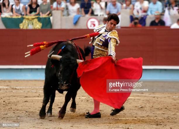 Spanish bullfighter Francisco Rivera performs during a bullfighting as part of the La Peregrina Festival at Plaza de Pontevedra bullring on August 12...