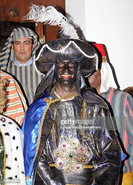 Spanish bullfighter Jesulin de Ubrique is seen customized as King Baltasar one of the Three Wise Men on December 30 2011 in Arcos de la Frontera Spain