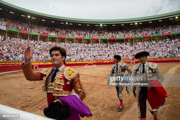 Spanish bullfighter Jose Garrido leaves the bullring after performing with bulls from the Puerto de San Lorenzo's fighting bulls on the second day of...