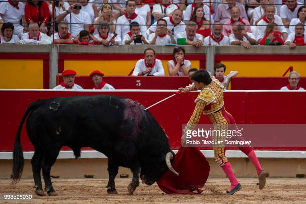 Spanish bullfighter Jose Garrido tries to kill a bull from Puerto de San Lorenzo's fighting bulls during a bullfight on the second day of the San...