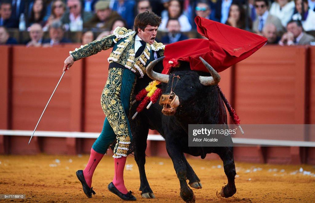 Spanish Bullfighter Julian Lopez Escobar 'El Juli' performs during the Feria de Abril Bullfight at La Maestranza on April 16, 2018 in Seville, Spain.