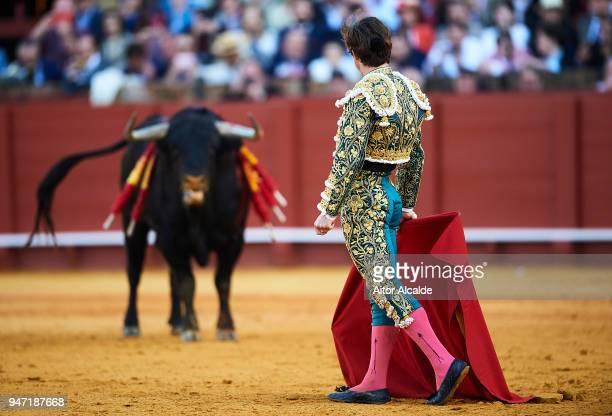 Spanish Bullfighter Julian Lopez Escobar El Juli performs during the Feria de Abril Bullfight at La Maestranza on April 16 2018 in Seville Spain