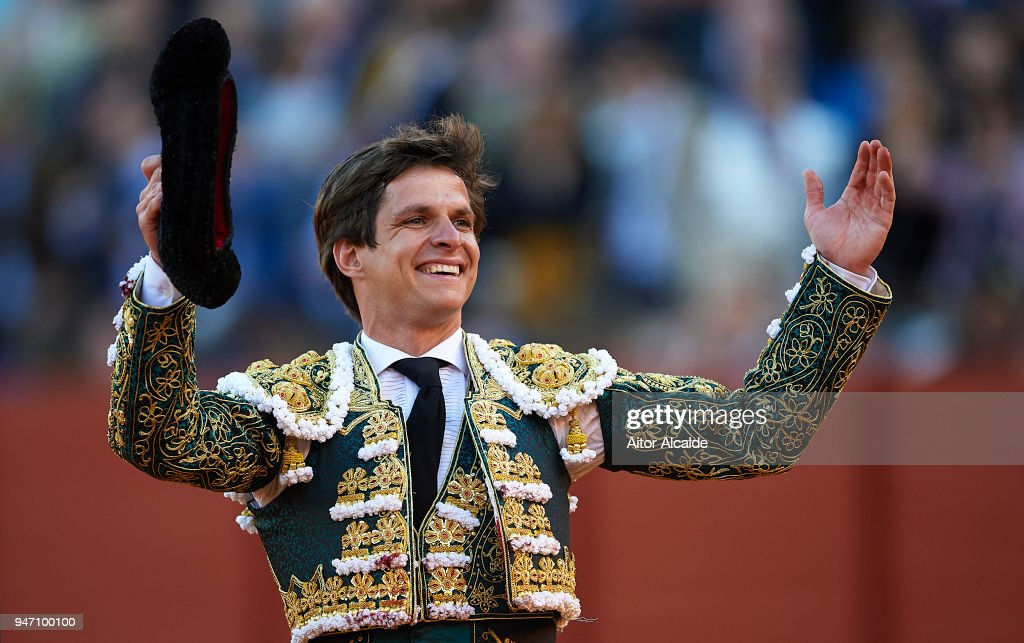 Spanish Bullfighter Julian Lopez Escobar 'El Juli' waves to the spectator after cut four ears and reprieve the last bull called 'orgullito'during the Feria de Abril Bullfight at La Maestranza on April 16, 2018 in Seville, Spain.