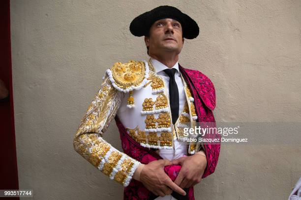 Spanish bullfighter Paco Urena looks on as he prepares to perform on the second day of the San Fermin Running of the Bulls festival on July 7 2018 in...