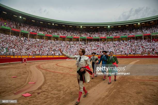 Spanish bullfighter Roman leaves the bullring after performing with bulls from the Puerto de San Lorenzo's fighting bulls on the second day of the...
