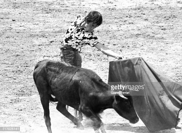 Spanish bullfighter Sebastián Palomo Martínez known professionally as Palomo Linares at a training session in Aranjuez Madrid Spain 1972