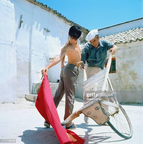 Spanish bullfighter Sebastián Palomo Martínez known professionally as Palomo Linares practising with a tourinha a wheeled training device...