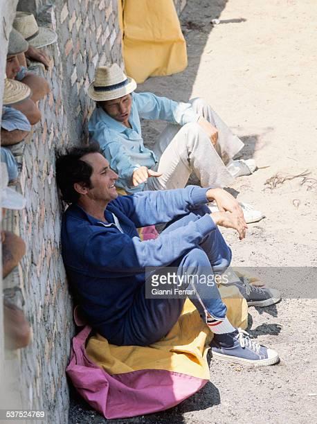 Spanish bullfighters Luis Miguel Dominguin and spanish bullfighter Manuel Benitez El Cordobes during a probe of bulls on the farm Villalobillos...