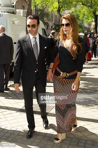 """Spanish bullfigther Enrique Ponce and his wife Paloma Cuevas attend the memorial service for Spanish businessman and President of """"El Corte Ingles""""..."""