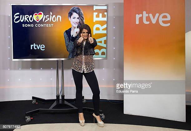Spanish candidate to Eurovision Barbara Reyzabal GonzalezAller AKA Barei attends a press conference at RTVE studios on February 2 2016 in Madrid Spain