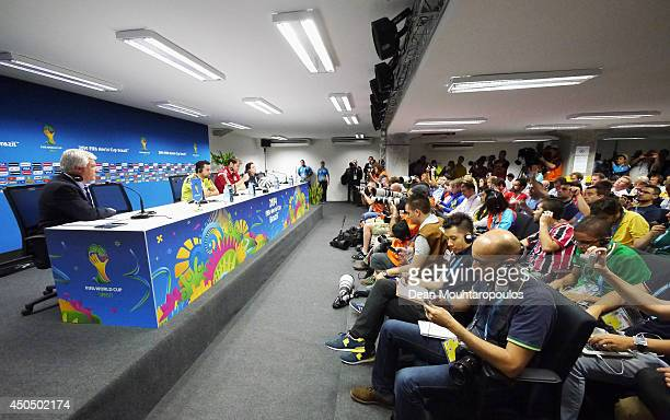 Spanish captain Xavi Hernandez and goalkeeper Iker Casillas speak to the media during the Spain Press Conference ahead of the 2014 FIFA World Cup...