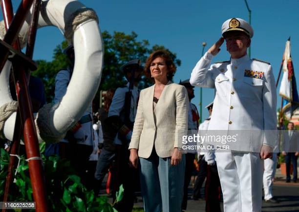 Spanish caretaker Deputy Prime Minister Carmen Calvo and Admiral Chief of Staff of the Spanish Navy Teodoro Lopez put a wreath in the Juan Sebastian...