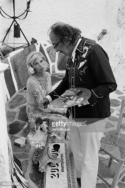 Spanish Catalan surrealist painter sculptor and screenwriter Salvador Dali with his muse French singer Amanda Lear at his home in Port Lligat