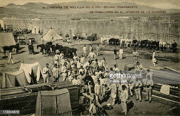 Spanish cavalry at a fort in Melilla Morocco 1912 Spain reinforce its occupation of northern Morocco after Berber raids in 1911