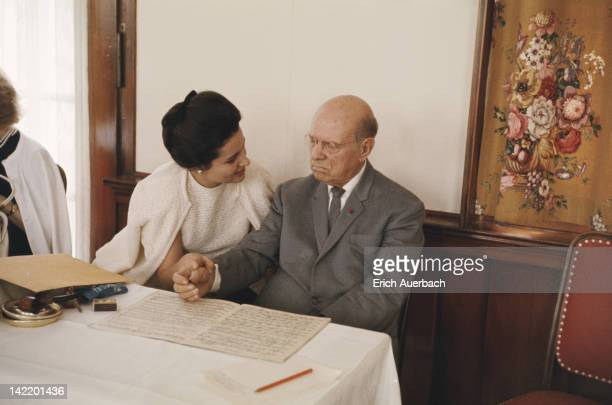 Spanish cellist Pablo Casals with his wife Marta Casals Istomin at a masterclass in Zermatt Switzerland September 1965