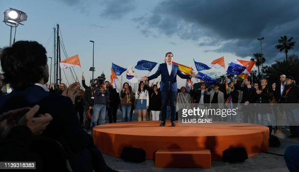 Spanish centreright Ciudadanos party candidate for prime minister Albert Rivera delivers a speech during a campaign rally in Barcelona on April 25...