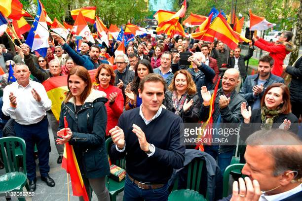 Spanish centreright Ciudadanos party leader Albert Rivera applauds during a campaign rally in the Spanish Basque city of Renteria on April 14 2019...
