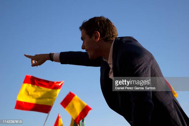 Spanish centreright Ciudadanos party president Albert Rivera delivers a speech during a campaign rally in Malaga ahead of the April 28 general...