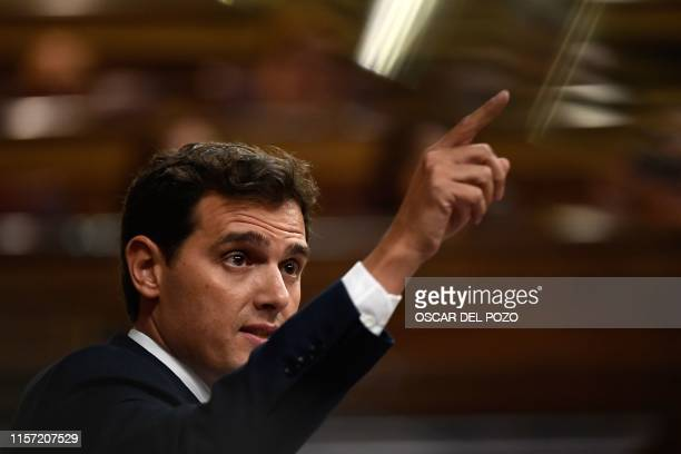 Spanish centreright Ciudadanos party's leader Albert Rivera gives a speech during the first day of the parliamentary investiture debate to vote...