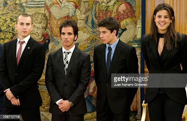 Spanish champions of the world Jorge Lorenzo Toni Elias Marc Marquez and Laila Sanz are received by King Juan Carlos I of Spain at Zarzuela Palace on...