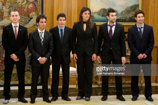 Spanish champions of the world Jorge Lorenzo Toni Elias Marc Marquez Laila Sanz Antoni Bou and Carlos Campano are received by King Juan Carlos I of...