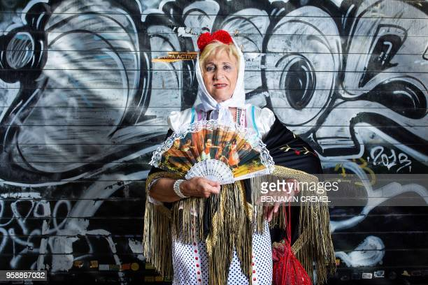 Spanish Charo dressed in traditional chulapa garb for San Isidro celebrations poses in Madrid on May 15 2018