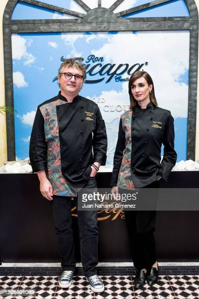 Spanish chef Andoni Luis Aduriz and Spanish actress Paz Vega attend 'Ron Zacapa' photocall during ARCOmadrid 2020 at Ifema on February 26 2020 in...
