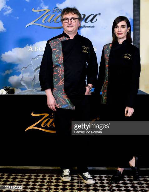 Spanish chef Andoni Luis Aduriz and Spanish actress Paz Vega present her designs for Zacapa Ron at ARCO Fair at Ifema on February 26 2020 in Madrid...