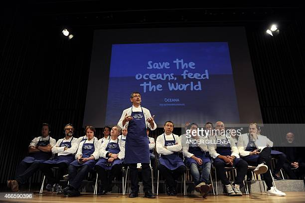 Spanish chef Andoni Luis Aduriz speaks as he participates with other international top chefs in a conference supporting Oceana's worldwide campaign...