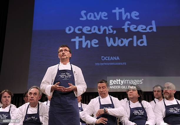 Spanish chef Andoni Luis Aduriz speaks during a conference supporting Oceana's worldwide campaign Save the Oceans Feed the World on March 17 in the...