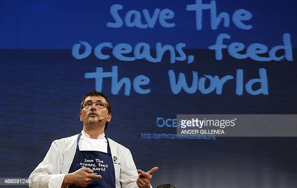 Spanish chef Andoni Luis Aduriz speaks during a conference to support Oceana's worldwide campaign Save the Oceans Feed the World in the Basque...