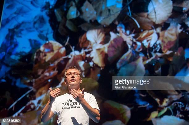 Spanish Chef Andoni Luis Aduriz speaks onstage during Gastronomika San Sebastian 2016 on October 3 2016 in San Sebastian Spain