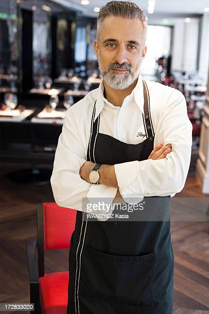 Spanish chef Sergi Arola poses in his restaurant Pica Pica specialized in tapas on October 01, 2012 in Paris,France.
