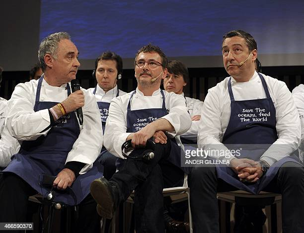 Spanish chefs Ferran Adria Andoni Luis Aduriz and Joan Roca take part during a conference supporting Oceana's worldwide campaign Save the Oceans Feed...