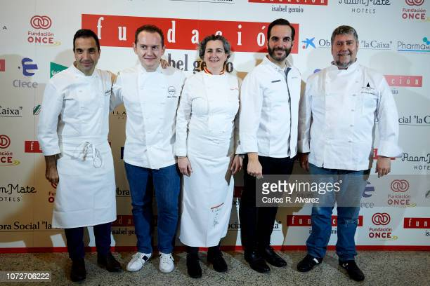 Spanish chefs Oscar Velasco Juan Muñoz Pepa Muñoz Mario Sandoval and Jose Carlos Fuentes attend 'Estrellas por la Ciencia' gala at the Canal Theater...