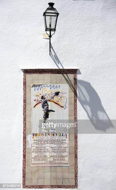 Spanish Cities, A poster advertising a bullfight at the Plaza de Toros de la Real Maestranza, Seville, Spain