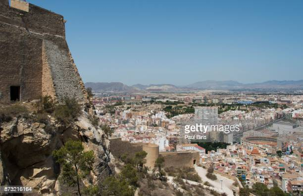 Spanish Cities, Alicante, Spain, View of medieval Castle of Santa Barbara on  San Julian Mountain
