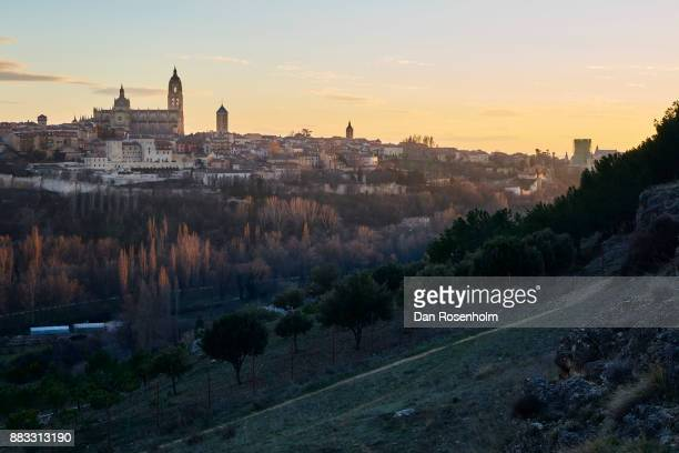 Spanish Cities, the cathedral and city of Segovia at dusk