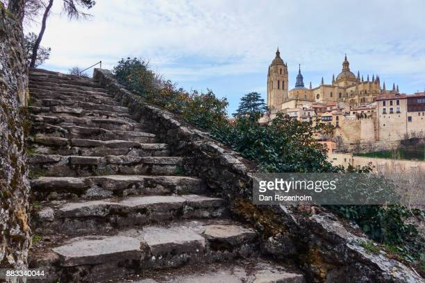 Spanish Cities, the city of Segovia with a staircase in the foreground