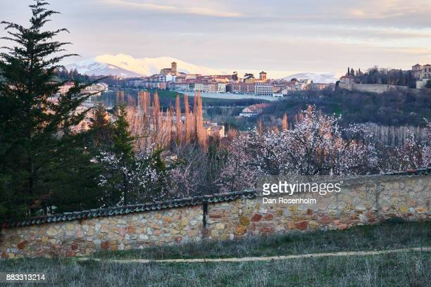 Spanish Cities, the city of Segovia with snowy mountains as backdrop
