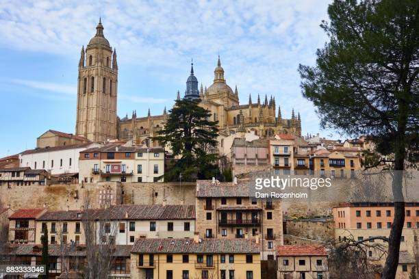 Spanish Cities, the streets of Segovia with the cathedral
