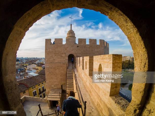 spanish cities - valencia - torres de serranos - valencia spain stock pictures, royalty-free photos & images
