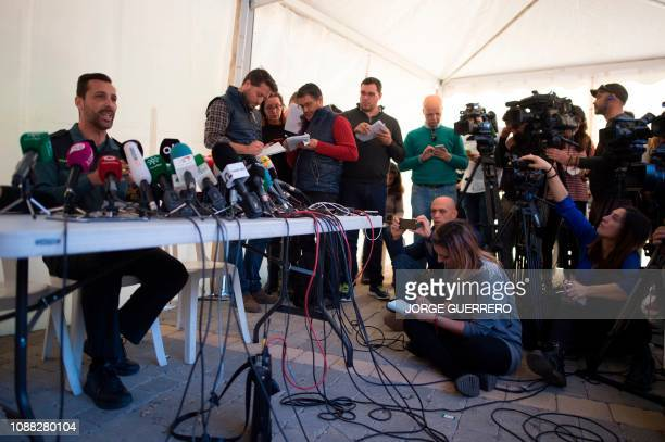 Spanish civil guard spokesman Jorge Martin gives a press conference in Totalan southern Spain on January 25 2019 A team of miners started digging a...