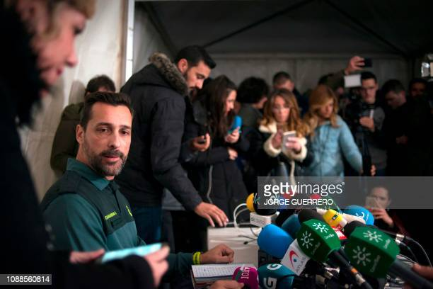 Spanish civil guard spokesperson Jorge Martin holds a press conference in Totalan southern Spain on January 25 2019 Miners closed today on a toddler...