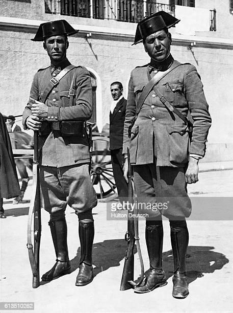 Spanish Civil Guards at Alicante Spain in November 1937