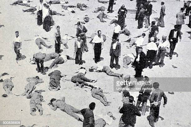 Spanish Civil War 19th July 1936 Republican casualties after the capture of the mountain headquarters near Madrid by nationalist forces