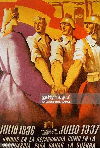 Spanish Civil War antifascist Civil War Poster United to Win the War Unidos para ganar la Guerra